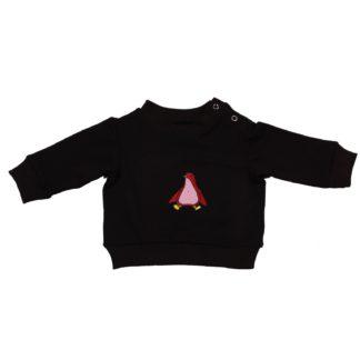 Bamboe sweater met geborduurde pinguïn